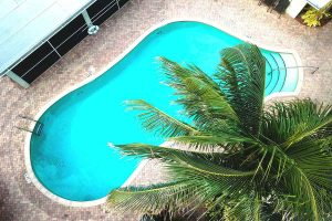 Aerial view of the pool at seaside palm beach