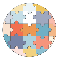illustration of a jigsaw puzzle in all different colors